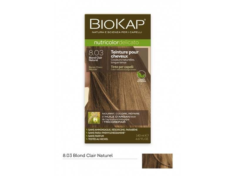 Coloration nutricolor delicato+ 8.03 blond clair naturel  - 140 ml - Biokap