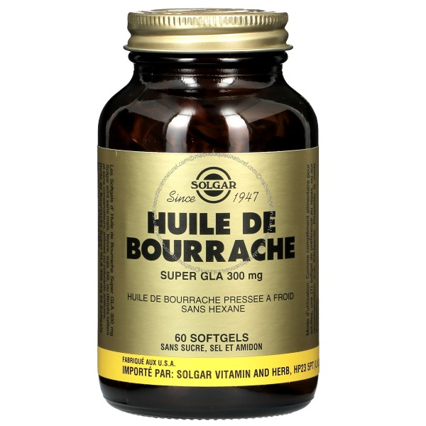 huile de bourrache super gla 300 mg 60 softgels solgar. Black Bedroom Furniture Sets. Home Design Ideas