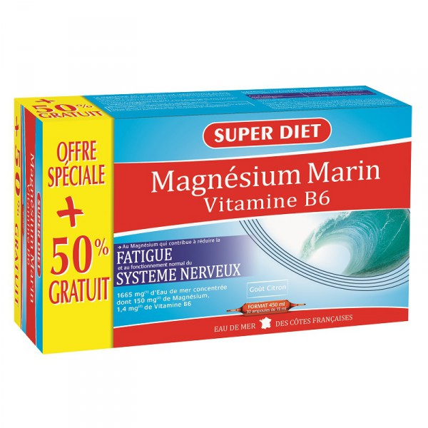 magn sium marin vitamine b6 20 ampoules 10 offertes super diet. Black Bedroom Furniture Sets. Home Design Ideas