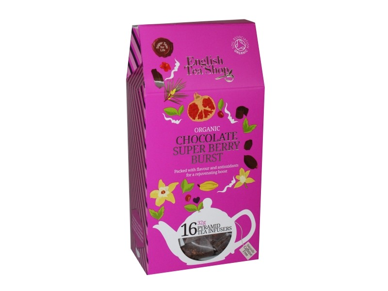 Rooibos Chocolate Superberry Burst Bio - 16 sachets pyramide - English Tea Shop