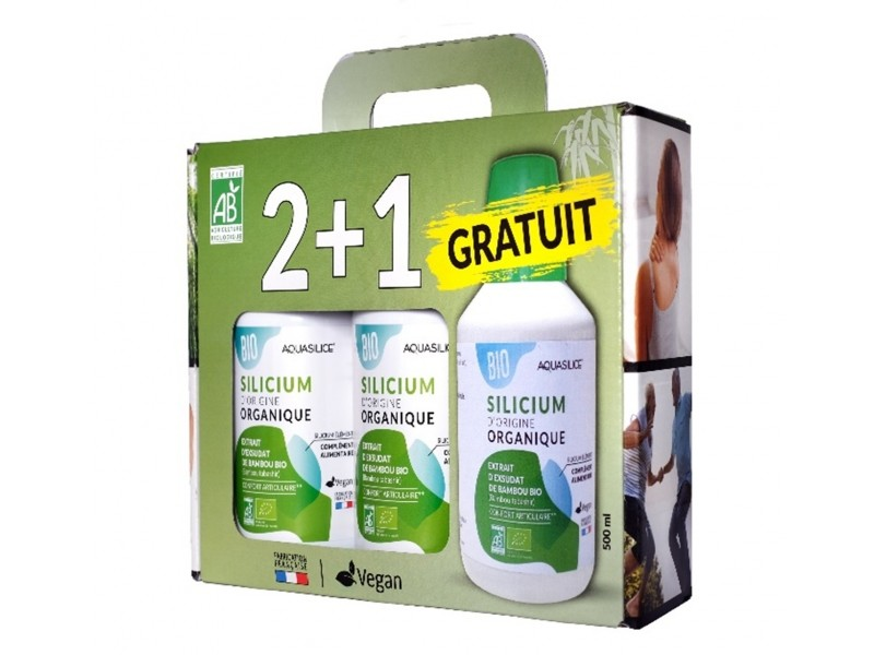 Silicium d'Origine Organique Bio - 2+1 offert - Co ffret 3 x 500 ml - Aquasilice