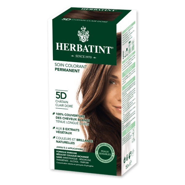Soin colorant permanent 5D Chatain clair doré - 150ml - Herbatint