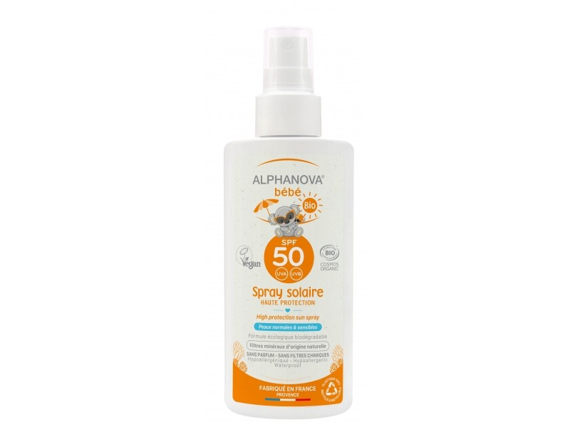 spray solaire bio spf 50 b b sans parfum 125 gr alphanova. Black Bedroom Furniture Sets. Home Design Ideas