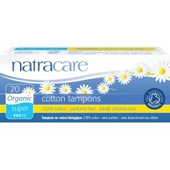 Tampons super sans applicateur en coton Bio - 20 tampons - Natracare