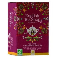 Thé noir pêche et gingembre Bio - 20 sachets  English Tea Shop