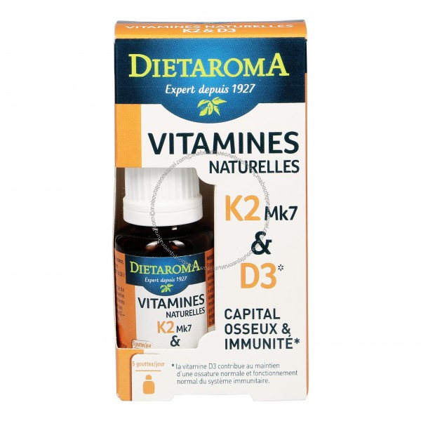 Vitamines naturelles K2Mk7 & D3 - 15 ml - Dietaroma
